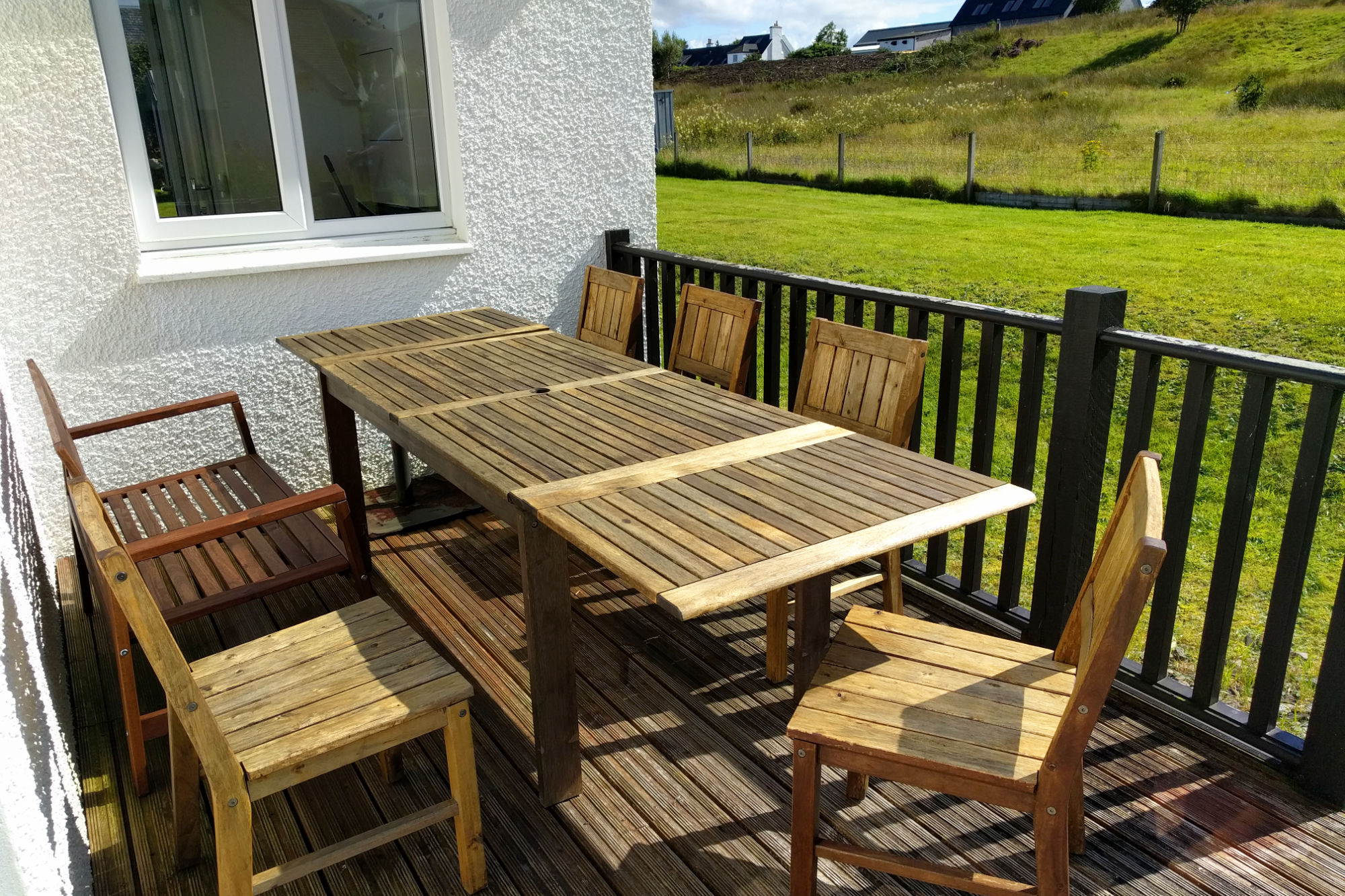 South facing decking accessible from dining area